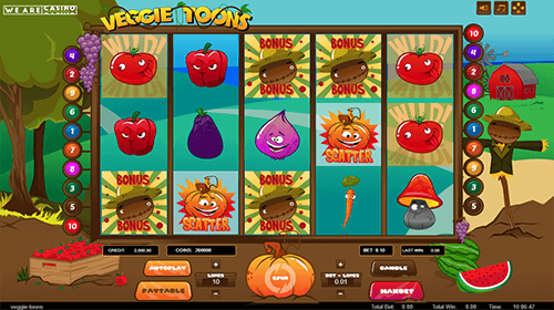 """Veggie Toons"" is a 3x5 slot game by WAC with 10 fixed paylines"