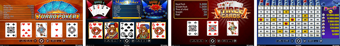 "Wazdan has 3 video poker titles and one specialty game - ""Extra Bingo"""