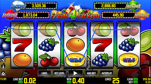 """Fruits 4 Jackpot HD"" Worldmatch slot is a classic one with four different jackpots"
