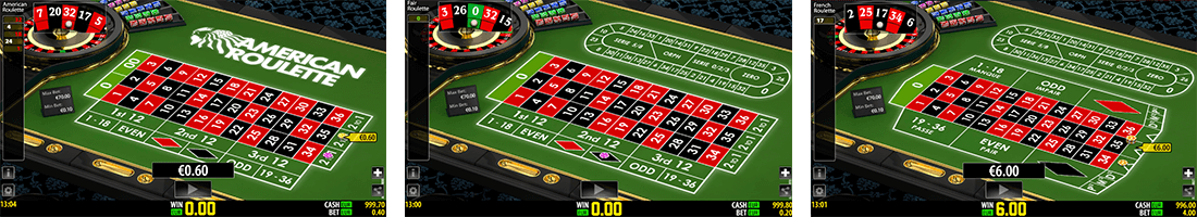 There are three variants of Worldmatch roulette games - American, Fair and French