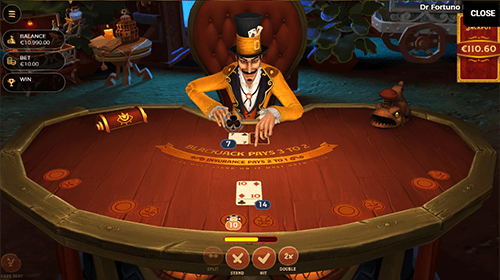 "The Yggdrasil ""Dr. Fortuno Blackjack"" game has five seats and a ""bonus bet"""