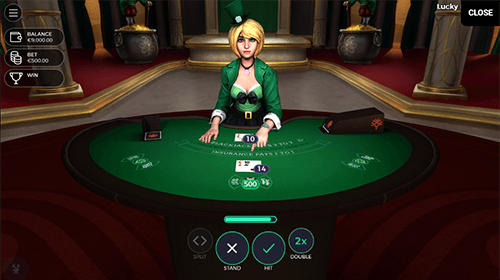 "The ""Lucky Blackjack"" Yggdrasil game is a three-seat blackjack table"