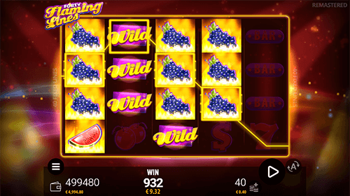 "The Zeusplay slot ""Forty Flaming Lines"" has 40 fixed paylines"